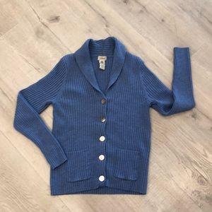 L L Bean Blue Wool Ribbed Shawl Cardigan M